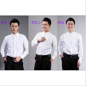 Damat Smokin Gömlek İyi Adam Sağdıç Beyaz veya Siyah Erkekler Düğün Gömlek