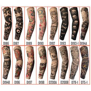 무작위로 유행 Unisex 야외 스포츠 안티 UV 가짜 문신 슬리브 오토바이 하이킹 팔 보호 따뜻한 양말 소매 임시 문신