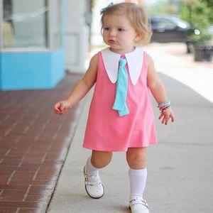 Шумерские девушки дети платья розовый длиной до колен платье без рукавов ленты декор симпатичные Лолита опрятный стиль ребенок юбка One Piece