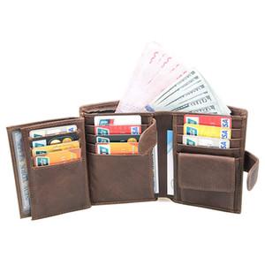 portefeuille de luxe mens portefeuilles hommes portefeuille court casual vache en cuir véritable pièce et multi porte-cartes de crédit paquet portefeuille