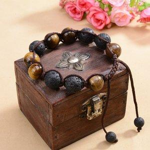 Naturstein Yoga Armbänder Elastische Webart Seil 12mm Tigerauge Lava Stein Chakren Armbänder Aromatherapie Armband Einstellbare B675L