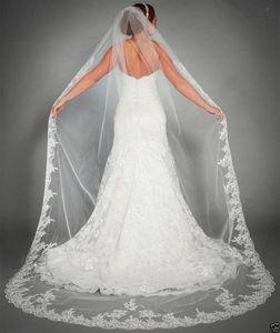 La nueva Europa y los Estados Unidos 1 t encaje blanco apliques novia boda velo de novia marfil catedral longitud + peine
