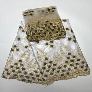 5 ярдов африканских Базен кружева белый с 2 ярдов французский чистый кружева высокое качество Базен Рич кружевной ткани последние Базен Рич getzner Белый
