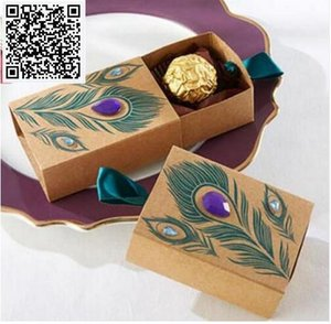 100pcs Peacock Feather And Diamond Kraft Paper Gift Box Wedding Party Favour Gift Candy Boxes Paper Gift Box Bags Party Supplies