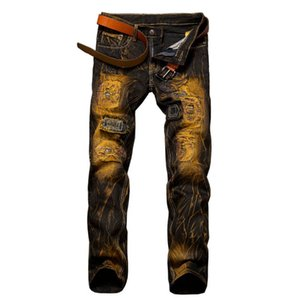 Wholesale- #1523 2016 Hip hop jeans men Fashion Straight Mens designer clothes Motorcycle Black Ripped jeans for men Denim biker jeans
