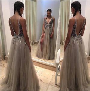 Sexy Profonde Cou v Robes De Bal 2017 Nouvelles Perles Cristal Côté Fente Dos Nu Balayage Train Robe De Soirée De Soirée