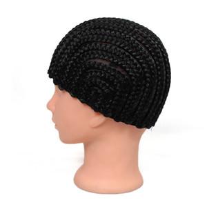 parrucca cap parrucca facile cornuta croceht berretto nero intrecciato 70g sintetico fatto per trecce crochet intreccia, stile protectif per l'estensione dei capelli