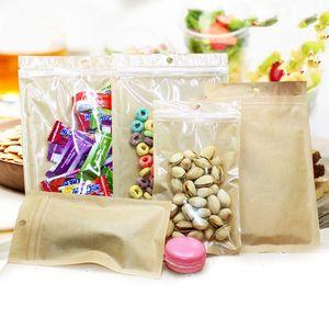 Bolsa de plástico Kraft con bolsa de plástico con tapa transparente y ventana transparente para alimentos secos, paquete de regalo de fiesta de dulces