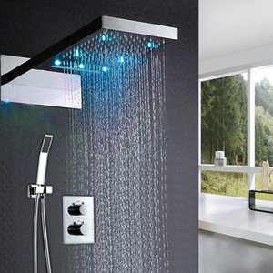 3 기능 LED 샤워 세트 벽 마운트 듀얼 비 및 폭포 머리 샤워 온도 조절 믹서 목욕 수도 꼭지