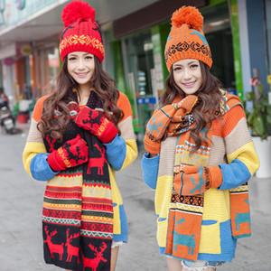 Стильный дизайн Снежинка шарф Hat Женщины Женщины перчатки + Hat + шарф 3шт / Set осенние и зимние теплые вязаные шерстяные шарфы, шапки перчатки