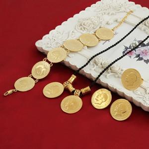 Sky Talent Bao Goldmünze Schmuck Sets äthiopischer Porträt Münze Set Halskette Anhänger Ohrringe Ring Armband Größe schwarz Seil Kette