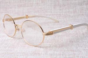 Die Fabrik hochwertige runde Brille Qualitätswaren 7550178 weiße Büffelhornbrille beliebte Brille Größe: 57-22-135 mm