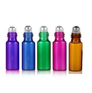 ملون 5ML 1 / 6OZ ROLL ON الزجاج زجاجة من الضروري النفط زجاجة عطر الفولاذ المقاوم للصدأ الأسطوانة الكرة العطر 200PCS المجاني قطارة DHL شحن