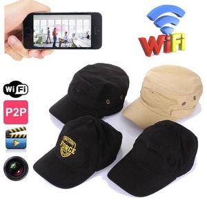 WIFI réseau Cap caméra IP HD 720p Wearable Hat sténopé Caméra Sans Fil WIFI P2P Toile cap caméras Construire-dans 8 GB carte mémoire