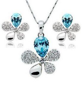 Moda Avusturyalı Kristal Takı Seti Diamonds Kolye Ve Küpe ile Kadınlar Takı Tasarımları Aksesuarları DHL Ücretsiz