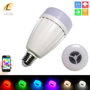 barato ventas calientes AC100-240V música LED Bombilla inteligente bulbo colorido Altavoces de audio E27 RGB LED de la lámpara regulable con APP de control Wifi