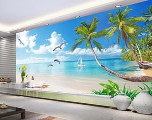 أعلى الكلاسيكية 3D النمط الأوروبي جميل البحر الأبيض المتوسط مشهد جدارية 3d خلفيات 3d ورق الحائط للتلفزيون خلفية