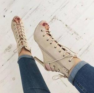 2017 Yeni Tasarım Kadın Moda Burnu açık Dantel-up Ayak Bileği Gladyatör Boots Cut-out Denim Yüksek Topuk Kısa Çizmeler Ince Topuk Elbise Ayakkabı