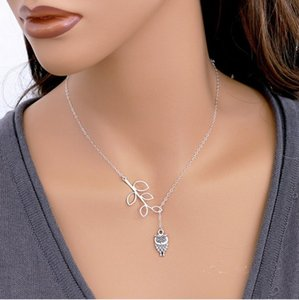 Charm Necklaces Silver Plated Owl Womens Girls Simple Little Owl Leaves Tassels ChainJewelry Regalos Gargantillas Collares