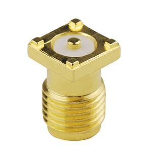 Conector coaxial eléctrico de 100pcs RF SMA hembra a través del agujero Jack Conector de superficie de montaje en PCB del RF Contacto Chapado en oro 50 ohmios