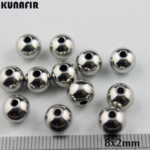 1.5mm 2mm 2.5mm 3.5mm hole 8mm diameter smooth 316L stainless steel beads bracelet necklace accessories jewelry DIY parts 200pcs ZSP033