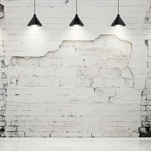 Broken White Brick Wall Fotografie Backdrops mit schwarzen Kronleuchtern Vintage Interieur Hintergründe für Studio Hochzeit Photo Booth Hintergrund