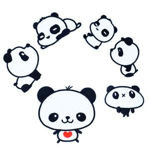 6 PCS panda combinaison broderie patchs pour vêtements fer patch pour vêtements applique accessoires de couture autocollants sur tissu fer sur les correctifs