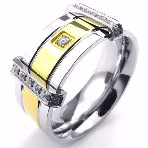 Anillo de cristal clásico de acero inoxidable para joyería del motorista de moda anillo de sello de los hombres tamaño 7 8 9 10 11 12 13, ancho 12 mm, color negro plata NR34