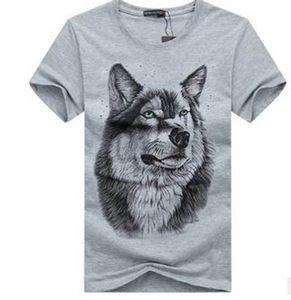 T-shirt à manches courtes pour hommes 2017 été nouvelle graisse pour augmenter le code T-shirt à manches courtes à la mode de la mode 3D tête de loup pa