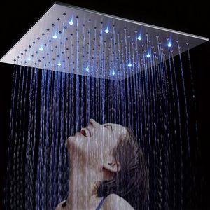 Großhandel 500 * 500mm 20 Zoll Luxus Niederschlag LED Big Duschkopf High Flow Square Wasserhahn 304 Edelstahl Regen Dusche mit 4 Duscharm