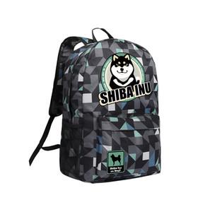 Kaki Noir Camouflage 3 Couleur Option Sac à bandoulière avec Doge Motif Shiba Inu Sac à dos pour les enfants Enfants Bookbag Doge