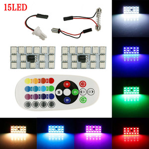 2x Festoon T10 BA9S 16Color RGB LED Panel Car Auto lectura interior mapa lámpara bombilla luz adorno adorno Flash Flash estroboscópico