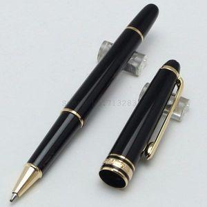 Luxo 163 de Alta Qualidade Melhor Design Pure Black Resina Roller Ball Pen / caneta esferográfica / Fountain pen