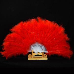 Showgirl Feather Fans Folding Dance Fan de mano Disfraces para mujeres Suministros para el banquete de boda 13 colores envío rápido F20171624