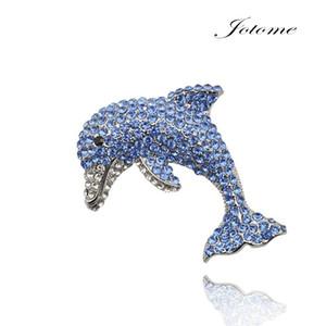 100 pcs / Bonito Charme Azul cristal de strass Dolphin Fish Silver-Tom Broche Pin como um presente para as mulheres, menina, criança, amante