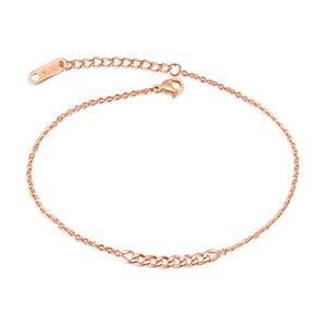 Cadena de acero inoxidable de oro rosa minimalista delicado tobillo pulsera verano sandalia descalza pie playa joyería tobillera