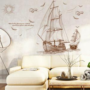 Новый абстрактный парусник птица стены стикеры пейзаж наклейки на стены искусства Спальня Гостиная украшения дома бесплатная доставка