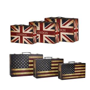 İngiltere Amerika Bayrağı Tarzı Vintage Bavul Saklama Kutusu Eski moda Dekor Deri Ahşap Zakka Durumda takı Organizatör ZA2946