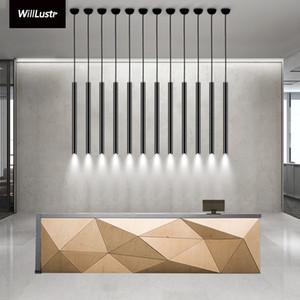 현대 LED 펜던트 램프 알루미늄 현탁액 조명 매달려 실린더 블랙 화이트 튜브 도광판 멀 고급 조명 램프