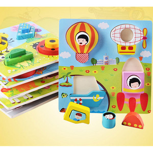 6styles Kids 3D Cartoon Wooden Puzzles AnimaL Insects Vehicles Colorful Wooden Figures building blocks intelligence toys Baby Infants gifts