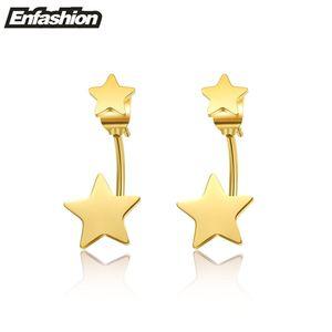 Enfashion Schmuck Double Star Ohrringe Schwarz Ohrstecker Rose Gold Farbe Ohrringe Edelstahl Ohrringe für Frauen Großhandel