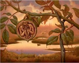 Vladimir Kush, Noyer d'Eden, Peint À La Main De Haute Qualité / Impression HD Célèbre Abstrait Mur Art Peinture à L'huile Sur Toile De Tailles Différentes Ab193