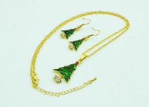 I monili di modo placcato oro Earings elegante albero di Natale per le donne orecchini dichiarazione riportata collana maglione regalo di Natale
