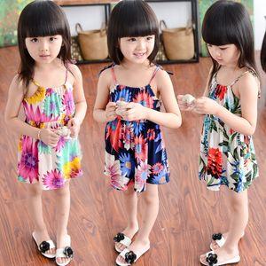 2017 Hot 5 pcs vente Filles robe coton Floral Siamois vêtements Filles bébé filles coton floral slip dress pour 2-8T