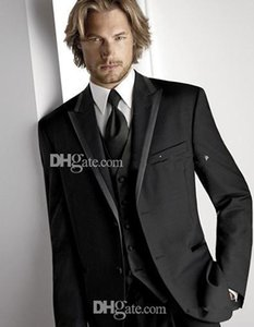 Топ Рекомендую Две кнопки Черные смокинги Смокинги Пик Отворот Жених Лучший мужской костюм Мужские свадебные костюмы (куртка + брюки + жилет + галстук)
