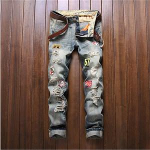 ممزق الرجال الجملة 2016 جينز يؤلمها هول الترقيع سليم تناسب الجينز غسلها مستقيم سروال جينز P3092