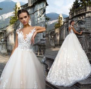 새로운 도착하지 않는 웨딩 드레스 빈티지 특종 목 아플리케 민소매 레이스 Vestido De Noiva 신부 드레스