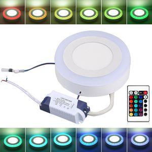 Panel LED 5pcs RGB de luz con la superficie de control remoto montado en el techo Downlight ahuecado Watts 9W / 18W Lámpara LED 6W / 24w redondo / cuadrado