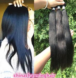 3pc / lot Licht Yaki Menschenhaarverlängerungen grade 10A brasilianisches reines yaki gerade menschliches Haar flechten 10-26inch haar dhl versandkostenfrei
