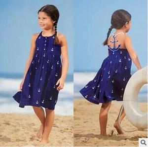 INS QUENTE Crianças Suspensórios Vestido Azul Menina Âncora Impresso Backless Beach Dress Crianças Sweet Summer Dress Saia de Alta Qualidade